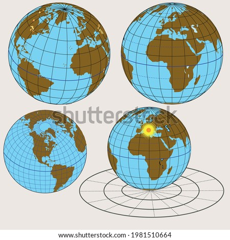 Geographical shapes, auxiliary lesson shapes, planar, conical, cylindrical, projection Stok fotoğraf ©