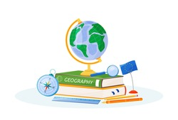 Geography flat concept vector illustration. School subject. Natural science learning metaphor. Study of earth. Student textbook, world globe and compass items 2D cartoon objects