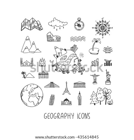 geography hand drawn vector