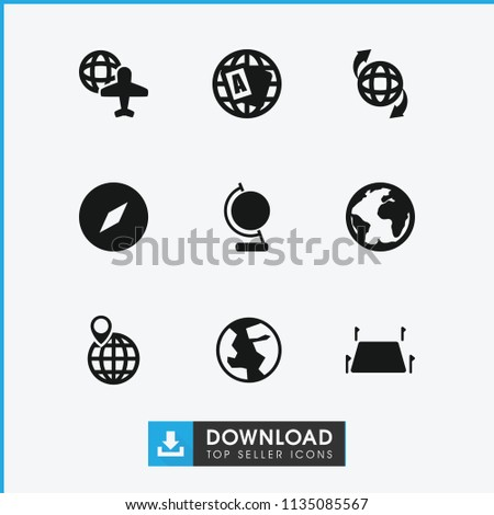Geography icon. collection of 9 geography filled icons such as globe, compass, globe and plane, land territory. editable geography icons for web and mobile.