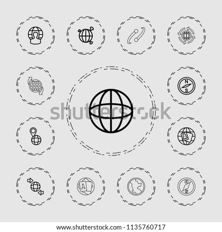 Geography icon. collection of 13 geography outline icons such as globe, compass, qround the globe. editable geography icons for web and mobile.