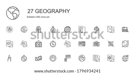 geography icons set. Collection of geography with map, planet earth, compass, maps, street map, globe, worldwide, earth grid, planet, earth globe. Editable and scalable geography icons.