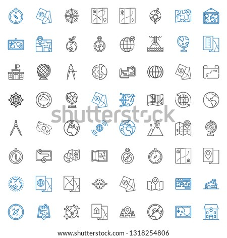 geography icons set. Collection of geography with school, map, earth, maps, worldwide, street map, compass, ozone layer, globe, eruption. Editable and scalable geography icons. #1318254806