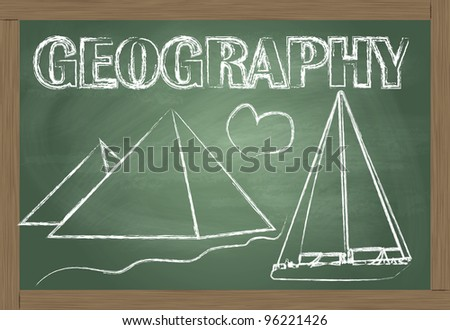 Geography on the classroom blackboard vector background