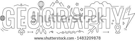 geography word. geography word concept. geography word and symbols