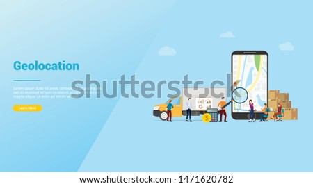 geolocation optimization search for best routes in maps app for business delivery service with modern flat style for website template or landing homepage - vector