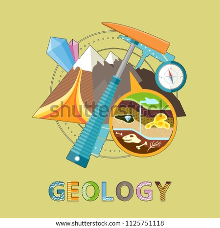 Geology excavations and geological researches. Pick and compass equipment, closeup of ground layers with fossils and minerals vector illustration emblem