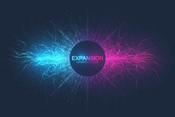 Geometric abstract background expansion of life. Colorful explosion background with connected line and dots, wave flow. Graphic background explosion, motion burst. Scientific vector illustration