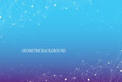 Geometric abstract background with connected line and dots. Molecular structure dna or neuron composition. Graphic background for your design. Vector illustration.