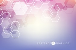 Geometric abstract background with connected line and dots. Structure molecule and communication. Scientific concept for your design. Medical, technology, science background. Vector illustration.
