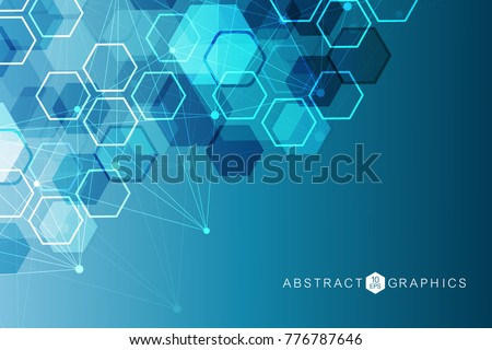 Geometric abstract background with connected line and dots. Structure molecule and communication. Big Data Visualization. Medical, technology, science background. Vector illustration