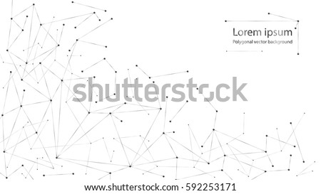 Geometric abstract background with connected line and dots. Vector illustration. Black and white molecule structure. Science and connection concept.