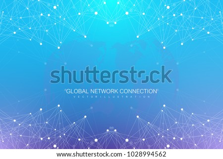 Geometric abstract background with connected lines and dots. Big data composition. Molecule and communication background. Graphic background for your design. Vector illustration