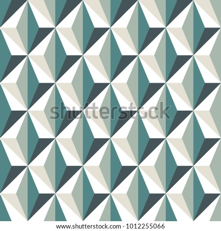Geometric abstract background with 3d effect. Seamless pattern with reapeated triangles. Contemporary motif. Optical illusion wallpaper. Interlocking figures ornament. Op art digital paper. Vector art