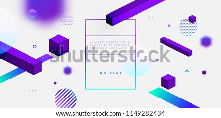 Geometric abstract background with trendy isometric shapes, cubes and dynamic composition. Vector eps10 illustration