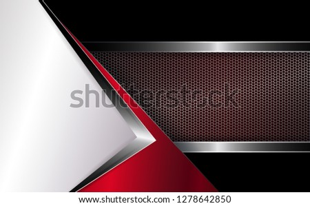 Geometric abstract background with white corner and grooved mesh frame.