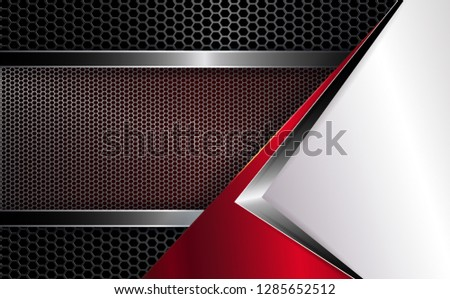 Geometric abstract background with white corner and grooved mesh frame with shiny edging.