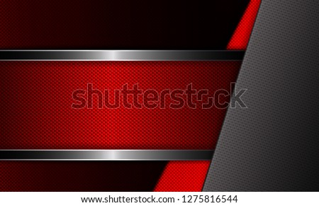 Geometric abstract design with red frame and red, gray grooved corner.