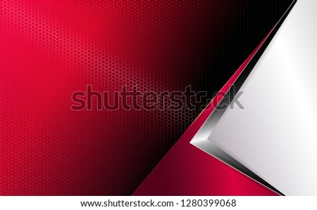 Geometric abstract red background with white corner, grooved mesh frame and arrow silhouette.