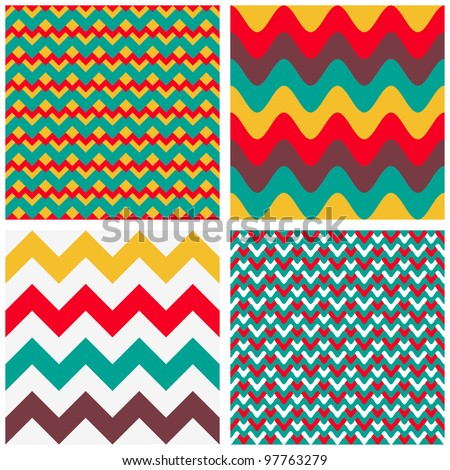 Geometric abstract seamless patterns set #3