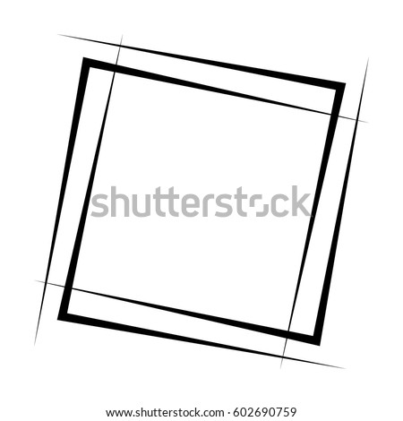 Geometric abstract square element. Intersecting lines forming a square shape