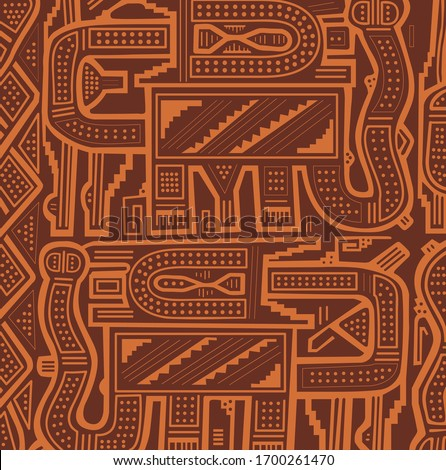 Geometric abstract vector from Chimu an ancient Peruvian culture. Pre-Columbian art pattern from Chimu textiles. Pre inca historic period. Stockfoto ©