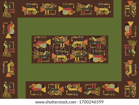 Geometric abstract vector from Paracas an ancient Peruvian culture. Pre-Columbian 'esclavina' textile from Paracas textiles. Pre inca historic period. Stockfoto ©