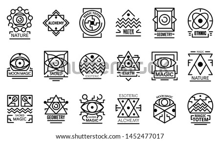 Geometric alchemy icons set. Outline set of geometric alchemy vector icons for web design isolated on white background