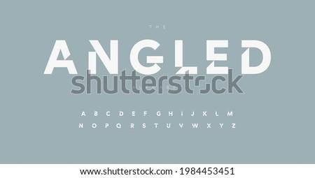Geometric alphabet letter font. Modern logo letters inner cut serifs. Minimalistic vector typographic design. Internal angled serifs bevel type for tech logo, headline, monogram, lettering, branding Photo stock ©