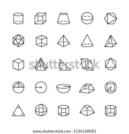 Geometric and trigonometric related icons: thin vector icon set, black and white kit