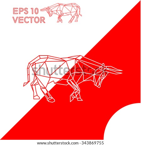 geometric animal ox bull red
