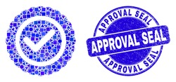 Geometric approve seal mosaic icon and Approval Seal stamp. Blue vector rounded distress stamp with Approval Seal title. Abstract mosaic of approve seal done of round, triangles,
