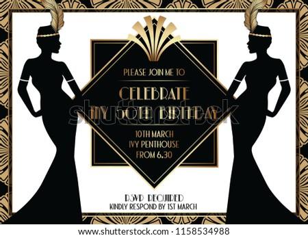 Geometric Art Deco Style Birthday Invitation Design with Woman
