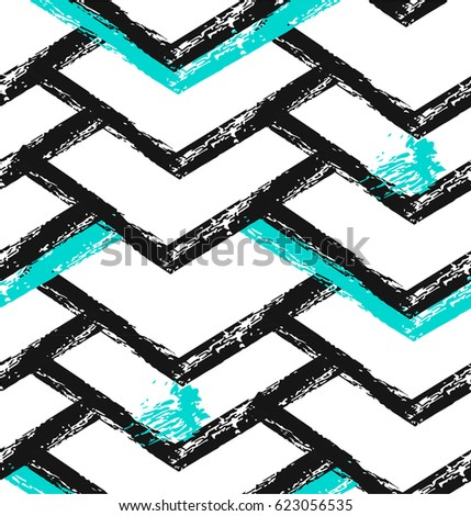 Geometric art print, abstract modern and trendy design, minimalistic unusual nordic universal seamless pattern in black and white, mint colors isolated.
