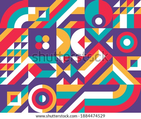 Geometric background design. Abstract artwork pattern. Geometrical figures. Composition Graphic print poster. Business presentation cover banner. Collage futuristic ornament. Vector illustration.   Foto stock ©