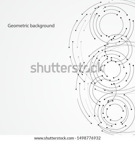 Geometric background from abstract circles connected by dots. Vector illustration.