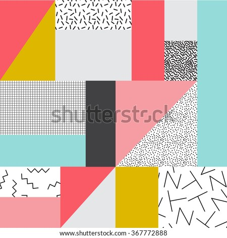 Geometric background in retro 80s style