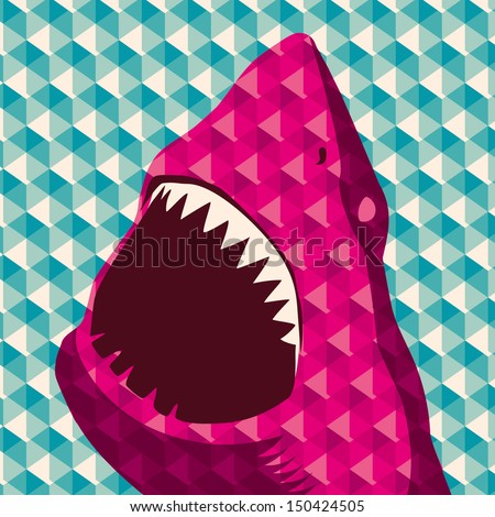 geometric background with shark