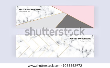 Geometric banner in gold, glitter, grey, pastel pink and marble texture background. Template for  designs, card, flyer, invitation, party, birthday, wedding, email, web
