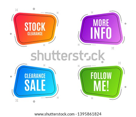 Geometric banners. More info symbol. Navigation sign. Read description. Follow me banner. Clearance sale. Vector