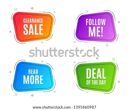 Geometric banners. Read More symbol. Navigation sign. Get description info. Follow me banner. Clearance sale. Vector