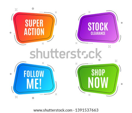Geometric banners. Shop now symbol. Special offer sign. Retail Advertising. Follow me banner. Clearance sale. Vector