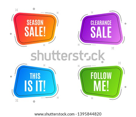 Geometric banners. This is it symbol. Special offer sign. Super offer. Follow me banner. Clearance sale. Vector