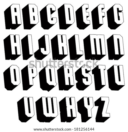 Royalty-free 3d bold and big font, monochrome… #140236546 Stock ...