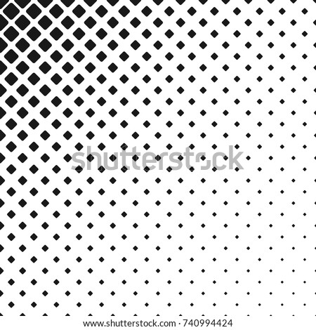 Geometric black and white rounded square pattern background - vector graphic design from diagonal squares in varying sizes