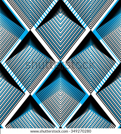 Geometric blue stripy overlay seamless pattern, bright vector abstract background. Graphic symmetric ornament.