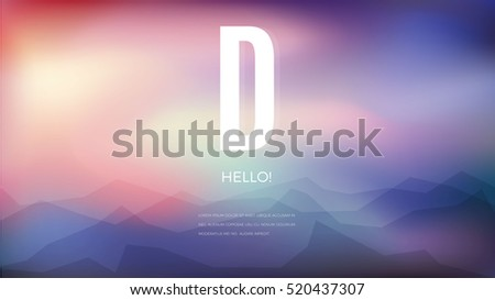 Geometric Blur abstract background with mountains and text. Vector design illustration