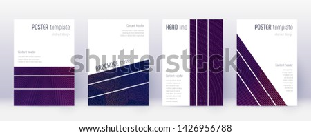 Geometric brochure design template set. Violet abstract lines on dark background. Amazing brochure design. Dazzling catalog, poster, book template etc.