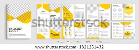 Geometric Brochure template layout design,yellow minimal business profile,16 pages brochure, multipage orange shape brochure design.
