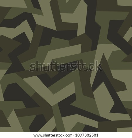 Geometric camouflage seamless pattern. Abstract modern military urban texture. Stock vector illustration.